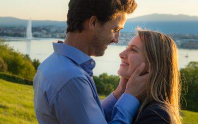 glorious golden hour engagement shoot – A&M – Geneva Golf Club