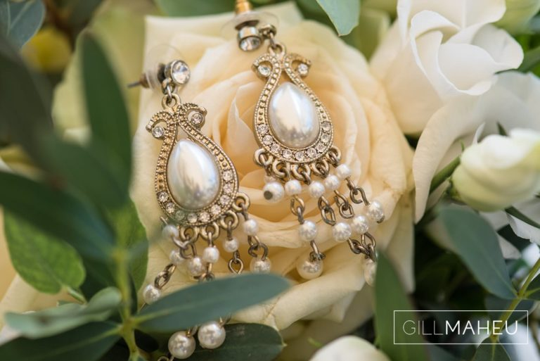 details of drop earrings at Lutry, Lausanne wedding by Gill Maheu Photography, photographe de mariage