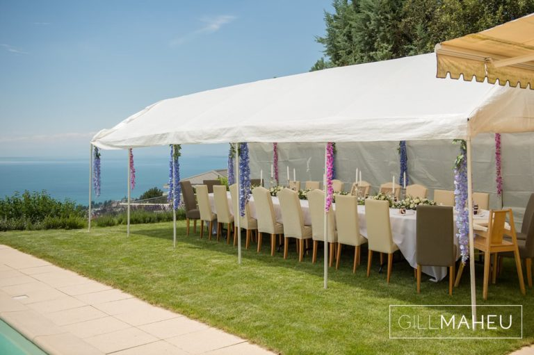 details of wedding tent for celebration diner at Lutry, Lausanne wedding by Gill Maheu Photography, photographe de mariage