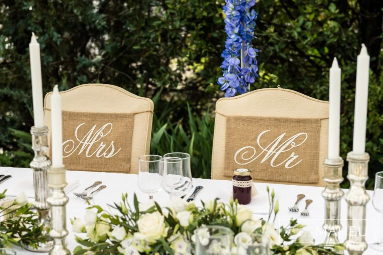 details oif bride and groom's chairs at Lutry, Lausanne wedding by Gill Maheu Photography, photographe de mariage