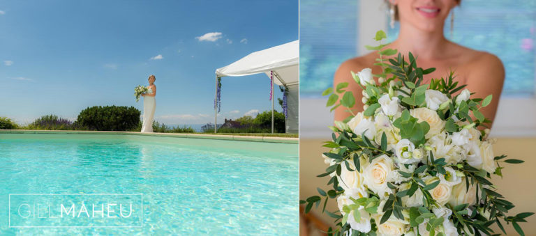 portrait of bride by turquoise swiming pool at Lutry, Lausanne wedding by Gill Maheu Photography, photographe de mariage