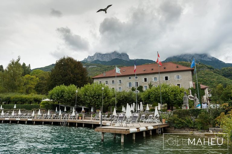 view of the Abbaye de Talloires, Annecy wedding by Gill Maheu Photography, photographe de mariage