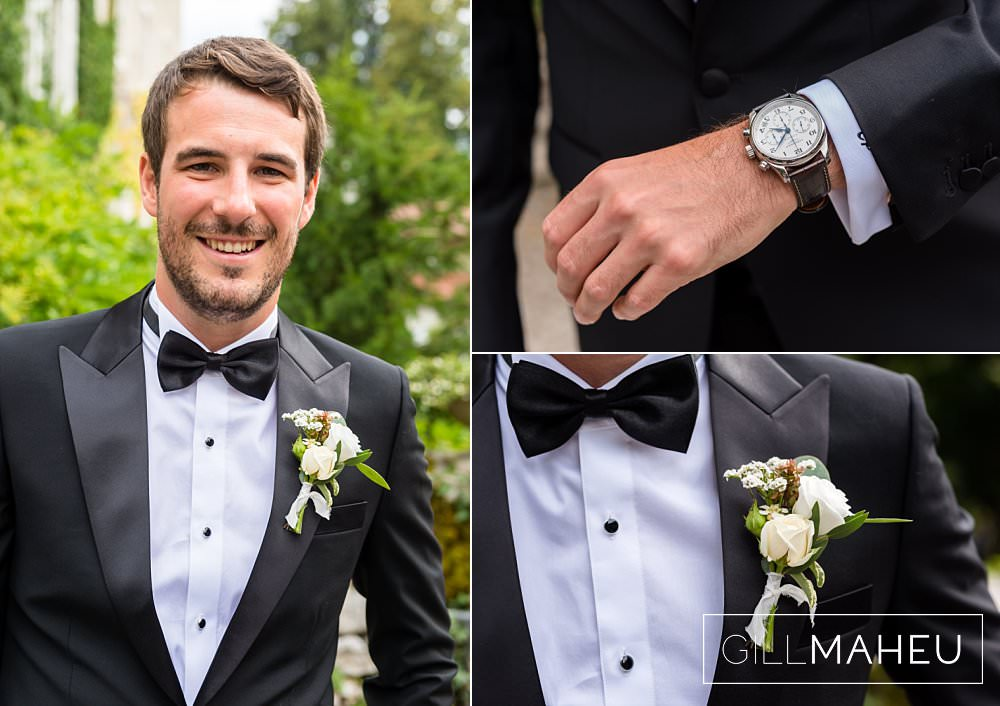 portrait if the groom and details of watch and button hole before ceremony at Abbaye de Talloires, Annecy wedding by Gill Maheu Photography, photographe de mariage