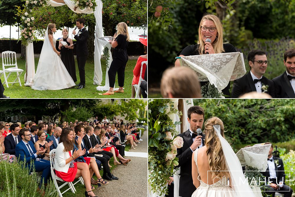 various details of the outdoor wedding ceremony in the gardens of the Abbaye de Talloires, Annecy wedding by Gill Maheu Photography, photographe de mariage
