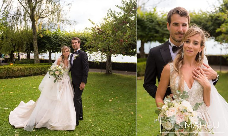 portrait of bride and groom in the gardens of the Abbaye de Talloires, Annecy wedding by Gill Maheu Photography, photographe de mariage