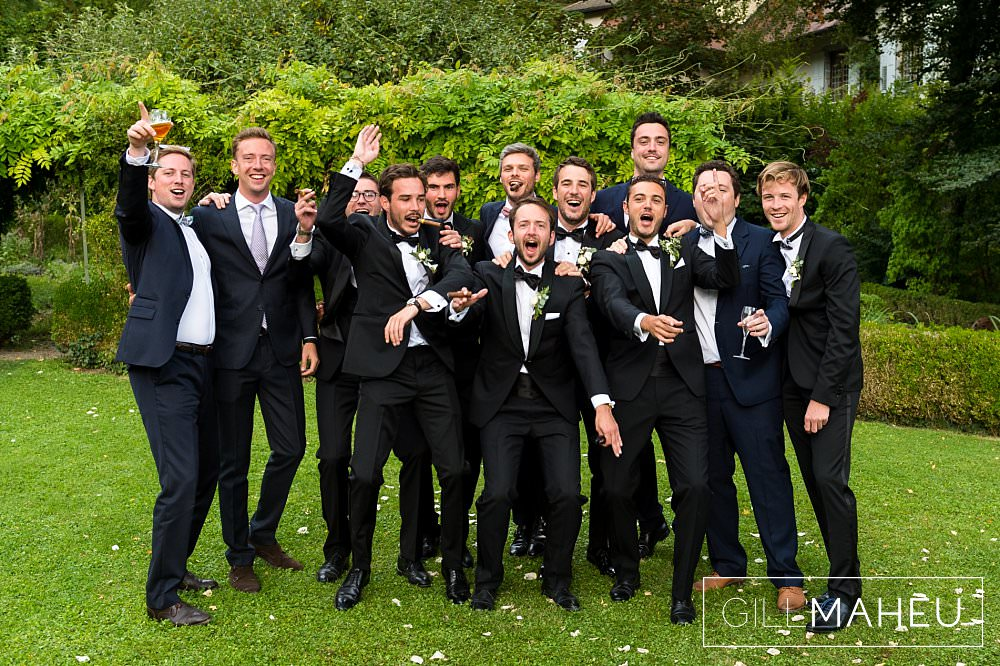 groom and his groomsmen at Abbaye de Talloires, Annecy wedding by Gill Maheu Photography, photographe de mariage