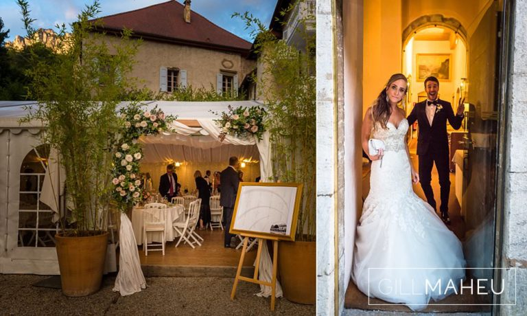 details of the evening celebrations and the bride and groom about to make their entrance at Abbaye de Talloires, Annecy wedding by Gill Maheu Photography, photographe de mariage