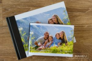 photos of full size and parent size stylish digital art layflat photographic paper lifestyle presentation album of Gimmelwald family session, by Gill Maheu Photography, photographe de famille