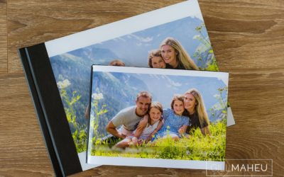 photos of full size and parent size stylish digital art layflat photographic paper lifestyle presentation album of Gimmelwald family session,  by Gill Maheu Photography, photographe de famille