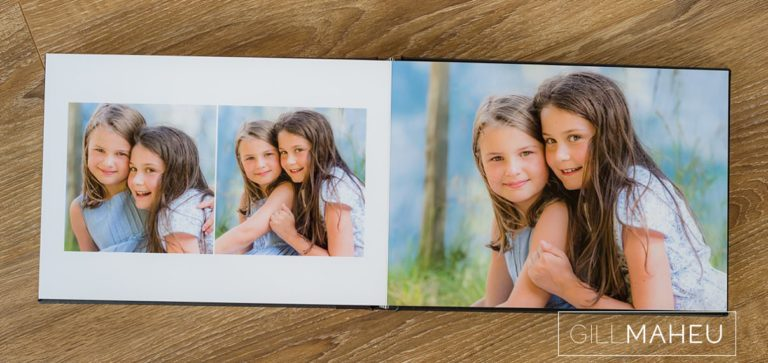 double page layout of stylish digital art layflat photographic paper lifestyle presentation album of Gimmelwald family session,  by Gill Maheu Photography, photographe de famille