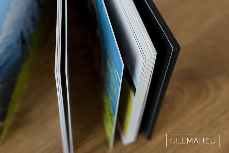 photo showing page thickness detail of stylish digital art layflat photographic paper lifestyle presentation album of Gimmelwald family session,  by Gill Maheu Photography, photographe de famille