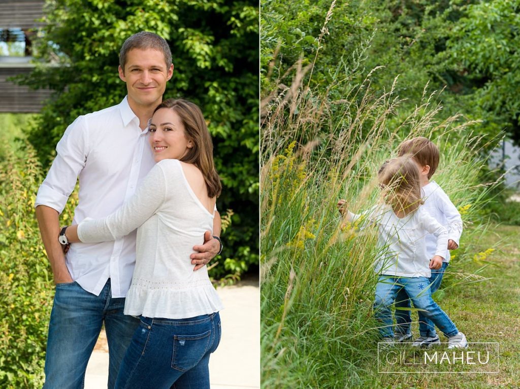 portrait of very happy young parents at family session near Geneva, Switzerland by Lifestyle photographer Gill Maheu Photography, photographe de famille