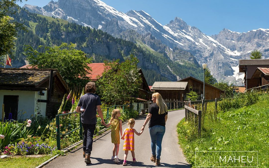 family lifestyle session in beautiful Gimmelwald, Swiss Alps