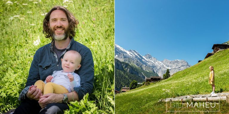 dad and baby son at summer sun lifestyle photography session with beautiful young family in Gimmelwald, Switzerland by Lifestyle photographer Gill Maheu Photography, photographe de famille