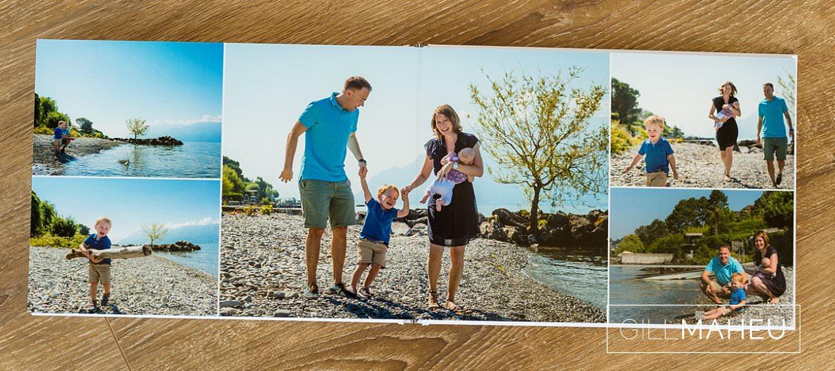 double page layout of stylish digital art layflat photographic paper portrait presentation album of Lake Geneva, Lausanne family lifestyle session by Gill Maheu Photography, photographe de famille