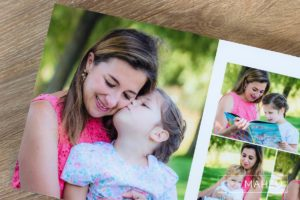 double page layout of stylish digital art layflat photographic paper portrait presentation album of Lausanne family lifestyle session by Gill Maheu Photography, photographe de famille