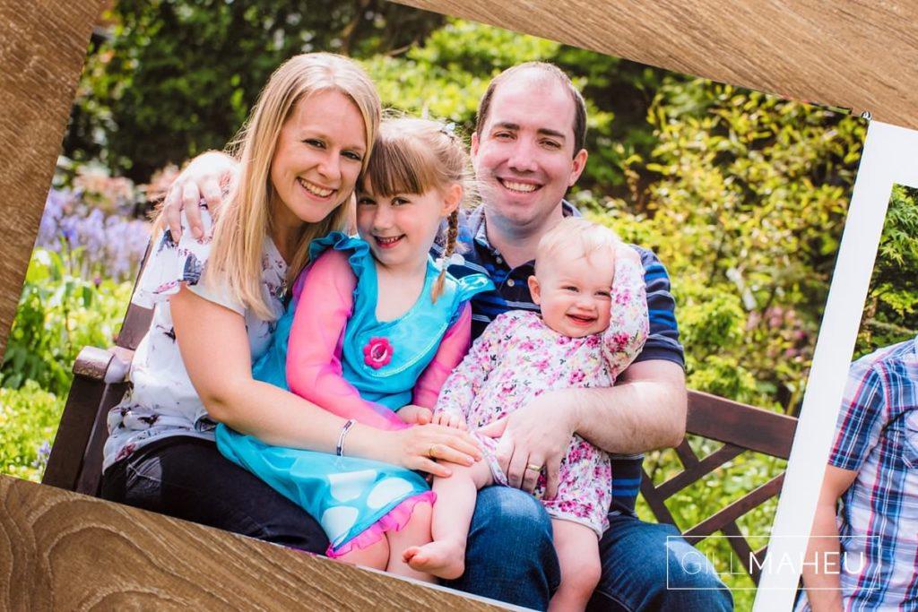double page layout of stylish digital art layflat photographic paper portrait presentation album of Nottingham family lifestyle session by Gill Maheu Photography, photographe de famille