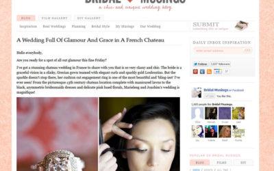 screen grabs of article about Gill Maheu Photography - photographe de mariage, wedding at the Chateau de Bagnols near Lyon