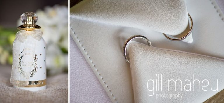 close up details of perfume and wedding rings at Hotel La Reserve, Geneve wedding by Gill Maheu Photography, photographe de mariage