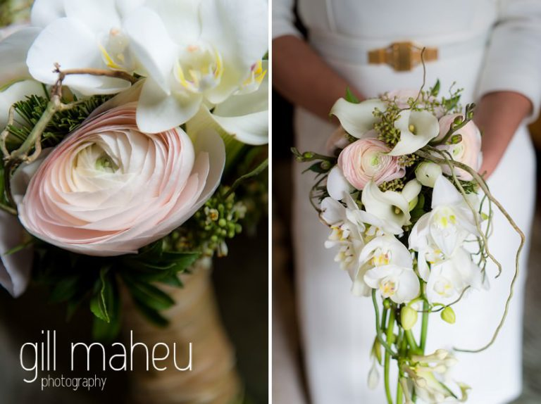 close up details of stunning white arum lily and anenome wedding bouquet with bride in Elie Saab wedding dress in the background at Hotel La Reserve, Geneve wedding by Gill Maheu Photography, photographe de mariage