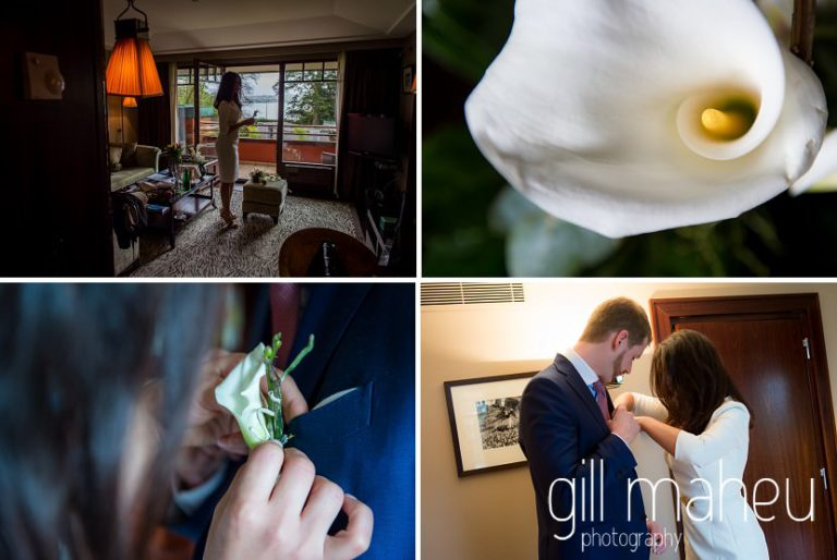 selection of detail shots as couple prepare to leave the Hotel La Reserve, Geneve for their civil wedding at Mairie de Versoix by Gill Maheu Photography, photographe de mariage
