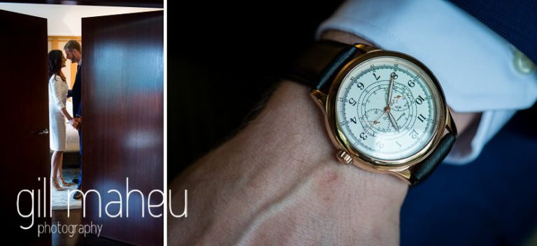 close up details of grooms luxury watch at Hotel La Reserve, Geneve wedding by Gill Maheu Photography, photographe de mariage