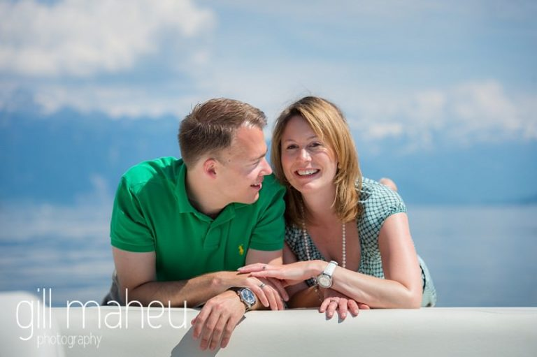 bride and groom on speed boat on Lac Léman, Lausanne engagement session by Gill Maheu Photography, photographe de mariage