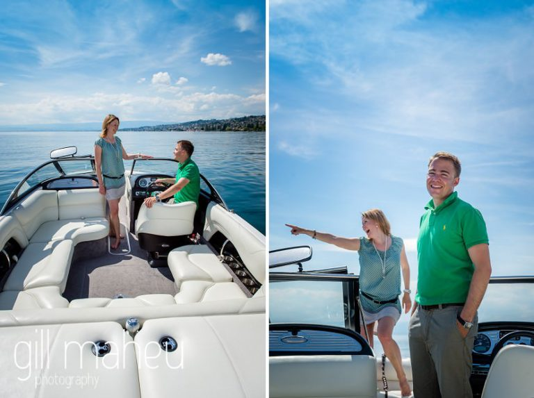 bride and groom having fun on speed boat on Lac Léman, Lausanne engagement session by Gill Maheu Photography, photographe de mariage