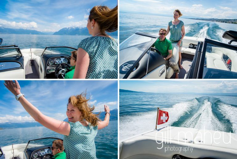 joy happiness speed of engaged couple on speed boat on Lac Léman, Lausanne engagement session by Gill Maheu Photography, photographe de mariage
