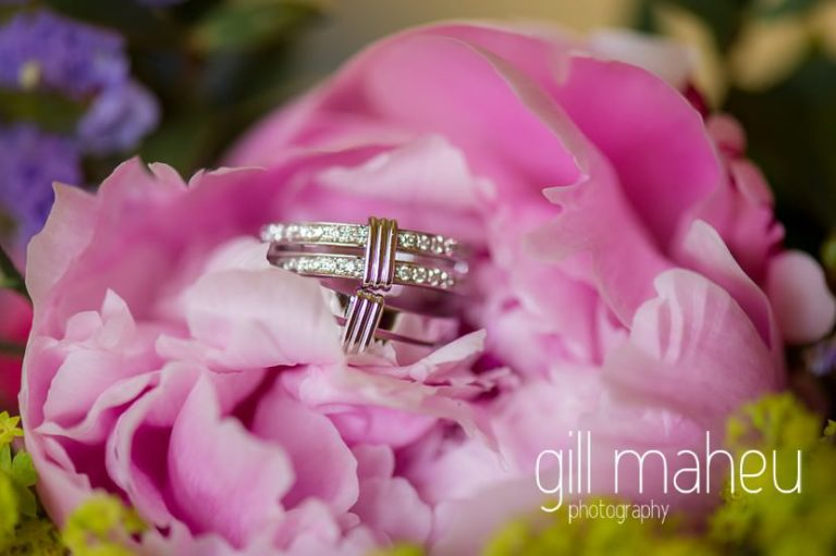 close up detail of wedding rings in beautiful wedding bouquet at Chateau de Coppet, Geneva wedding by Gill Maheu Photography, photographe de mariage