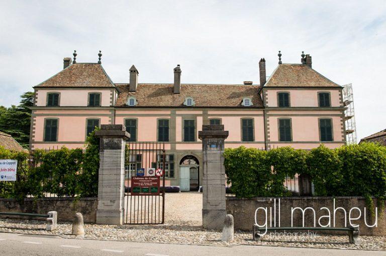 outside photo of Chateau de Coppet, Geneva wedding by Gill Maheu Photography, photographe de mariage