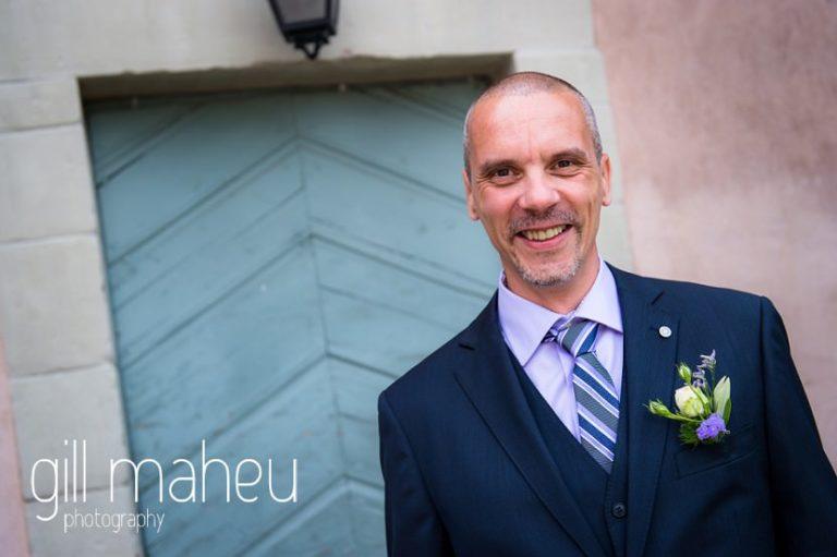 handsom egroom portrait at Chateau de Coppet, Geneva wedding by Gill Maheu Photography, photographe de mariage