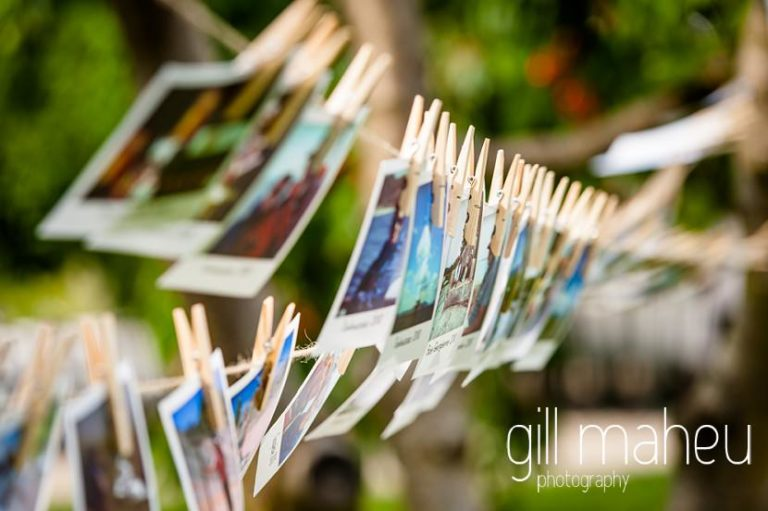 close up details of wedding photo bunting at Chateau de Coppet, Geneva wedding by Gill Maheu Photography, photographe de mariage