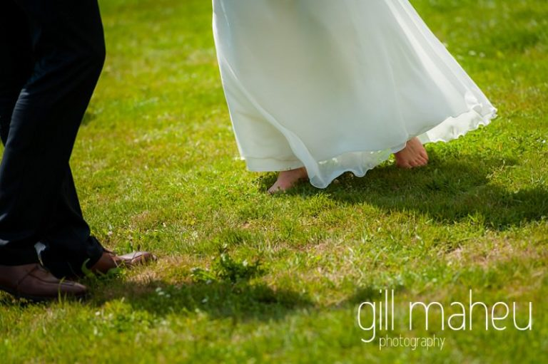 details of barefoot bride twirling in her beautiful Rembro Styling wedding dress to verdolini jazz at Chateau de Coppet, Geneva wedding by Gill Maheu Photography, photographe de mariage