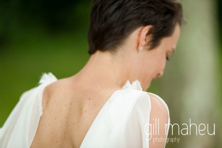 detail shot of back of bride's Rembro Styling wedding dress at Chateau de Coppet, Geneva wedding by Gill Maheu Photography, photographe de mariage