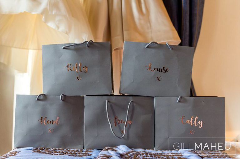 details of gift bags for the bridesmaids at Abbaye de Talloires, Annecy wedding by Gill Maheu Photography, photographe de mariage