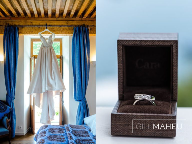 full length shot of Madison Jame wedding dress and cara wedding rings at Abbaye de Talloires, Annecy wedding by Gill Maheu Photography, photographe de mariage