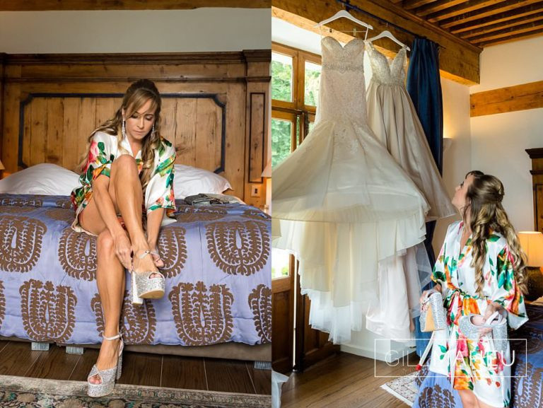 bride putting on her fabulously sparkly The Crystal Shoe Company wedding shoes and lookig up at her beautiful Madison James wedding dress at Abbaye de Talloires, Annecy wedding by Gill Maheu Photography, photographe de mariage