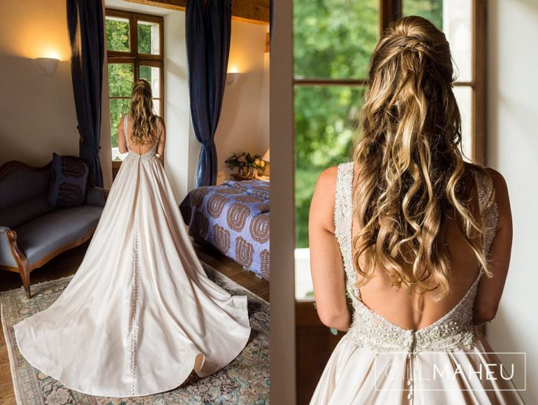 back details of bride wearing stunning Madison James wedding dress at Abbaye de Talloires, Annecy wedding by Gill Maheu Photography, photographe de mariage