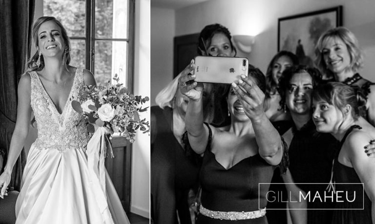fun black and white photos of bridal preparations at Abbaye de Talloires, Annecy wedding by Gill Maheu Photography, photographe de mariage