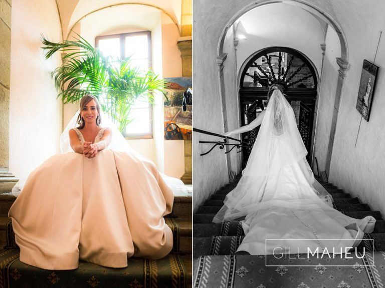 bride sitting on the stairs of the Abbaye de Talloires waiting to go out to the wedding ceremony in the gardens at Annecy wedding by Gill Maheu Photography, photographe de mariage