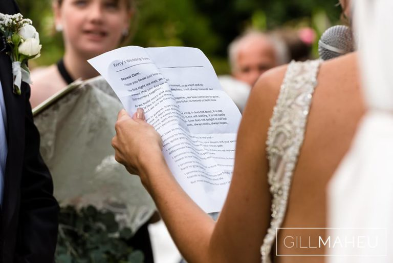 close up details of the bride's vows at the outdoor ceremony in the gardens of the Abbaye de Talloires, Annecy wedding by Gill Maheu Photography, photographe de mariage