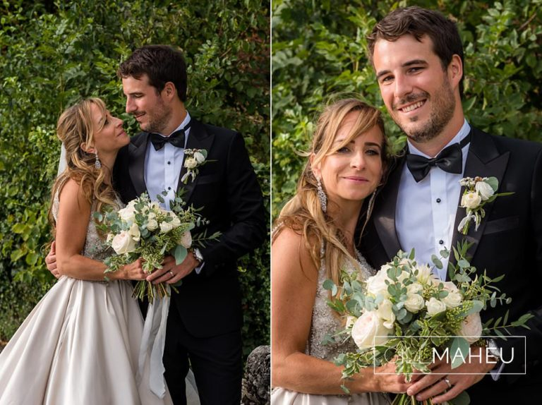 portraits of bride and groom looking at the camera in Abbaye de Talloires, Annecy wedding by Gill Maheu Photography, photographe de mariage